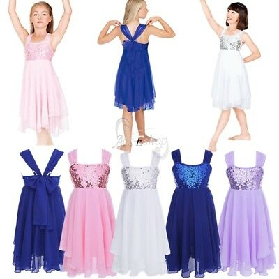 Girls Gymnastic Sequin Ballet Leotard Skirt Tutu Dress Dance Wear Outfit Costume