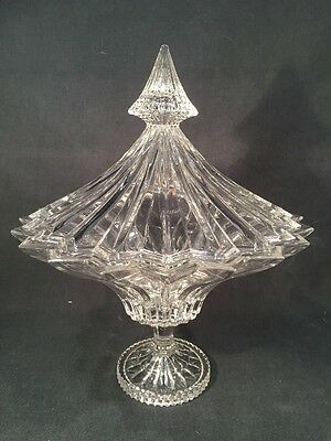 Boxed Large Crystal Bohemia Glass Dish With Lid (ref B068)