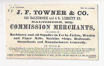 Old Advertising Card Towner Commission Merchants Baltimore MD Machinery Belting