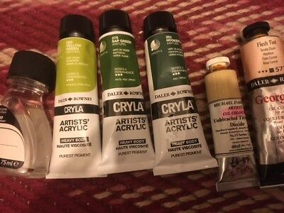 MIXED USED DALER ROWNEY CRYLA ARTIST ACRYLIC PAINTS SOME V LITTLE UNUSED thiner