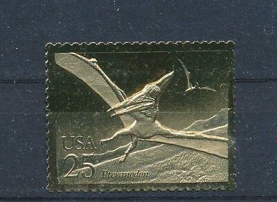 USA Gold Foil MNH Replica Stamp Prehistoric Animals Pteranodon