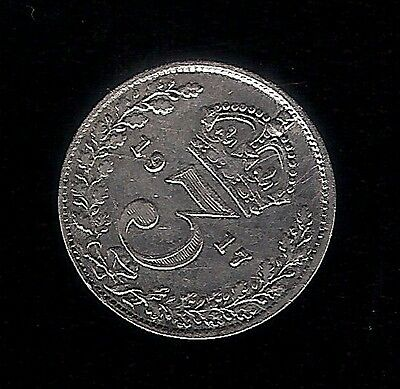 1917 .925 SILVER 3d Pence - GEORGE V 5th COIN BRITISH THREEPENCE