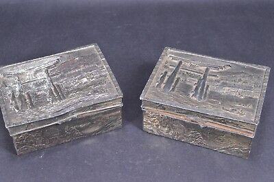 Pair Antique Vintage Silver Plated Copper Oriental Chinese Japanese Trinket Box