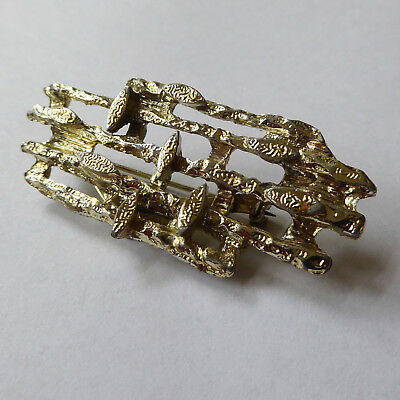 Gold tone Brutalist brooch/pin. Large Modernist vintage 60s 70s. Retro jewellery
