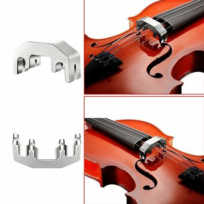 Mute Metal Muffler Silver Fiddle Silent Silencer Tuner For Practicing Violin PY