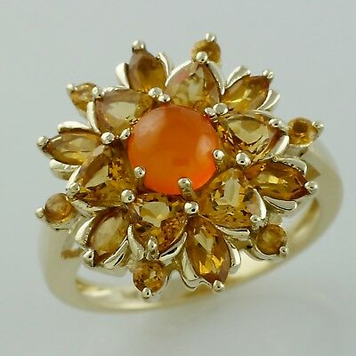 Carnelian 3.34 Ct. With Citrine Ring 925 Sterling Silver Engagement Jewelry