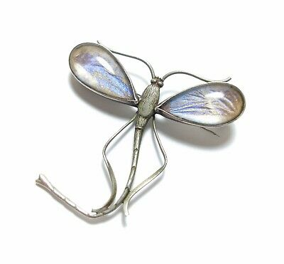 Beautiful Old Vintage Art Deco Silver & Butterfly Wing Dragonfly Brooch Pin (A2)