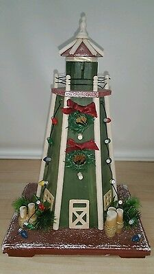 Light house wooden and decorated for Christmas holidays