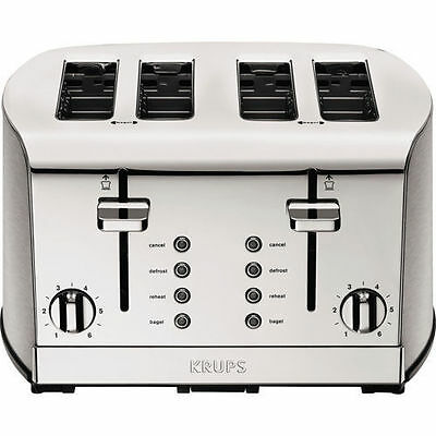 Krups Yorkwell 4-slice Toaster, 6 Browning Settings Bagel, Reheat, Defrost