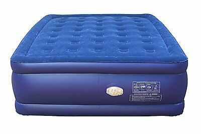 Smart Air Beds BD-1224GT Queen Raised Deluxe Coil Beam Flock Top Air Bed (Blue)