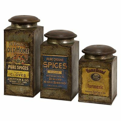 IMAX 73046-3 Addie Vintage Look Label Wood and Metal Canisters, Set of 3