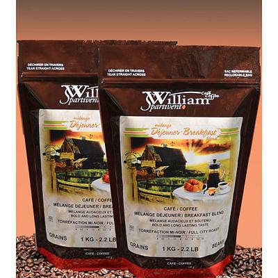 William Spartivento - Breakfast Blend Coffee Beans 2 x 1 kg (2.2 lbs.)