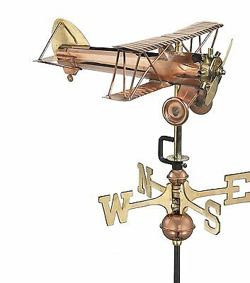 Good Directions 8812PG Biplane Garden Weathervane, Polished Copper Garden Pole