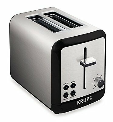KRUPS KH3110 Stainless Steel Toaster with Bagel Function and Wide Slots, 2-Slice