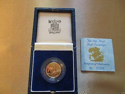 1988 Royal Mint Gold Proof HALF Sovereign as issued (COA IS 1988) same as coin