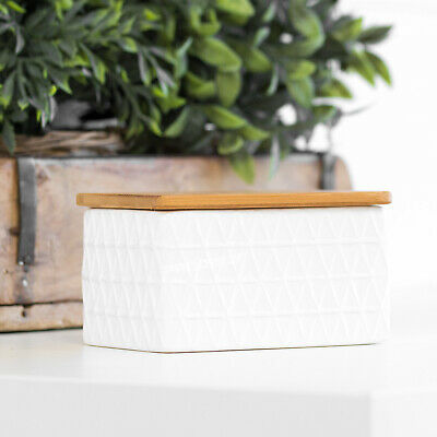 White Ceramic Geometric Butter Dish with Bamboo Lid Dining Table Serving Bowl
