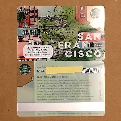 New Starbucks San Francisco  2017  City Lombard Crooked Street Gift Card Mint