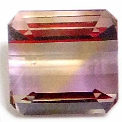 NATURAL VERY PRETTY PURPLE YELLOW AMETRINE GEMSTONE (8.4 x 8.0 mm) EMERALD CUT