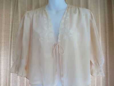 Vintage 1940's Peach Shiny Embroidered Bed Jacket