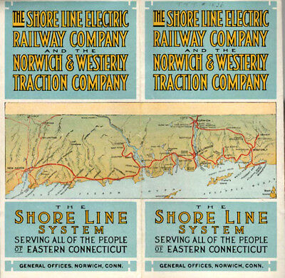 Shore Line Electric Railway / Norwich & Western Traction Guide & Map  1916 Conn.