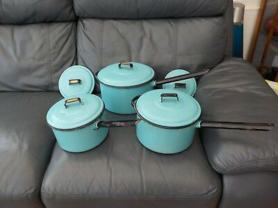 3x Vintage Judge Ware blue & black Enamel Pans - Farmhouse Country Kitchenalia