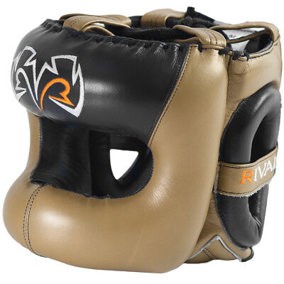 Rival Boxing Guerrero Facesaver Leather Sparring Headgear - L/XL - Gold