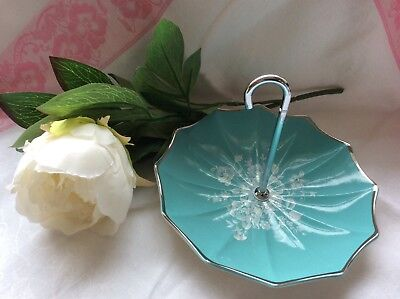 Vintage 1950s Midwinter Stylecraft Umbrella Cake Stand Turquoise  FASHION SHAPE