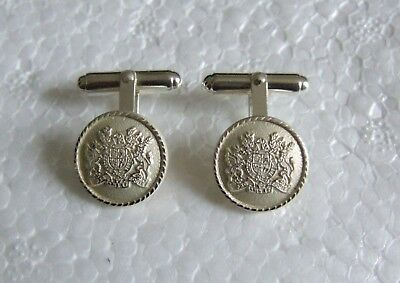 British Heraldry Superb Coat Of Arms Silver Plated Cufflinks City Of London