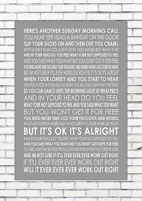 SUNDAY MORNING CALL - OASIS Typography Lyrics  Wall Art Print Poster A4