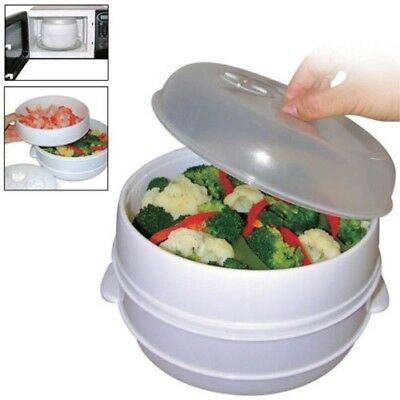 2 Tier Microwave Cooker Steamer Vegetables Healthy Cooking Container Heated Pot
