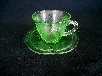 GREEN ROYAL LACE CUP & SAUCER - 1930s Depression Glass