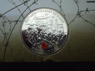Guernsey 2004 Coloured Poppy D-Day Commemorative £5 Crown  Presentation Pack
