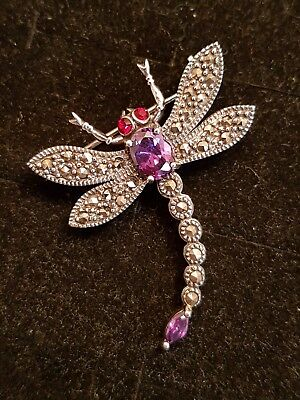 Stunning solid silver marcasite & amethyst dragonfly brooch 6.5g