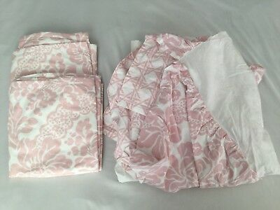 Land Of Nod Baby Girl Room Curtains And Crib Skirt Pink White