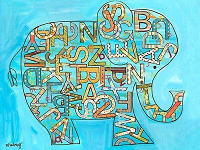 Oopsy daisy blue alphabet elephant stretched canvas wall art by winborg sisters