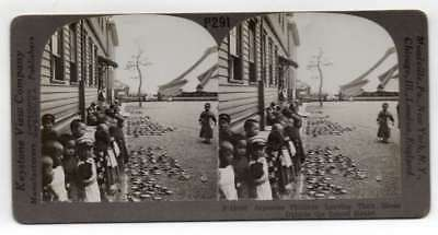 Japan Japanese Children Leaving Shoes Outside School Antique Stereoview J70473