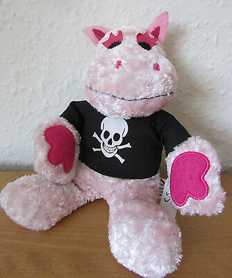 Fab Retro *george* Hippo Plush Soft Toy In Pirate Top - Rainbow