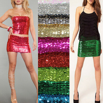 Bling Sequin Slim Metallic ELASTIC CLUBWEAR PARTY Bodycon Mini Skirt or Tube Top