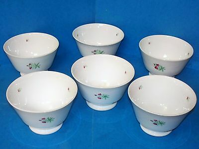 Antique Set of 6 Stick Sprig Ware Bowls/Cups Early To Mid 1800's Soft Paste