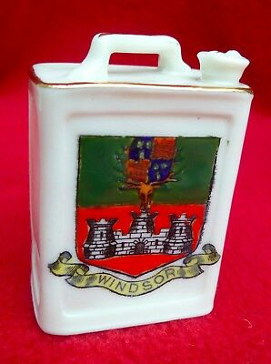 WW1 CRESTED CHINA MOTOR SPIRIT CAN (PETROL CAN) WINDSOR CREST by ARCADIAN CHINA