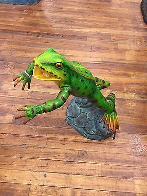 Colorful Bronze Fountain Sculpture Depicting a Frog Leaping