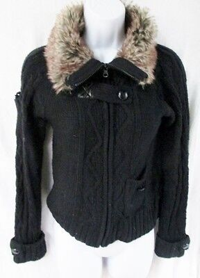NEW NWT Teen Tween Girls PINK REPUBLIC Cardigan Fur Sweater Jacket BLACK XL 16
