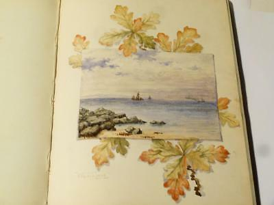 Antique 19thC Signatures Fine Paintings Sketches Artwork Album Scottish #V1