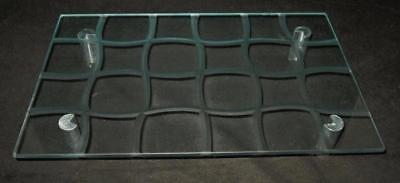 """Art Glass Etched Rectangular Footed Vanity or Dresser Tray or Shelve, 13"""" by 8"""""""
