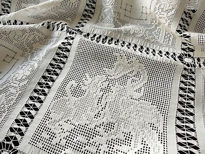 """Dragons Antique c1900 Tablecloth Embroidery Cluny Lace  40x41"""""""