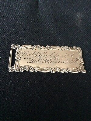 Sterling Silver Victorian Luggage Tag