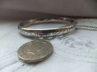 Vintage Sterling Silver /925 Chased (Half) Bangle Fully Hallmarked CM Birmimgham