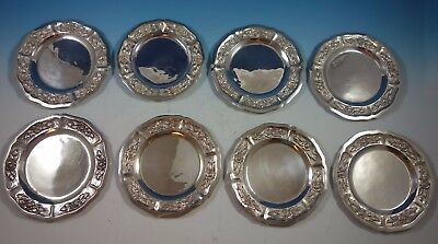 "Aztec Rose by Maciel / Sanborns Sterling Silver Dessert Plates Set 8pc 6"" #1756"