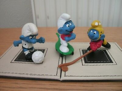 THE SMURFS, SPORTSMEN (x 3), BY SCHLEICH/ PEYO, VGC,COMPLETE FROM GERMANY.