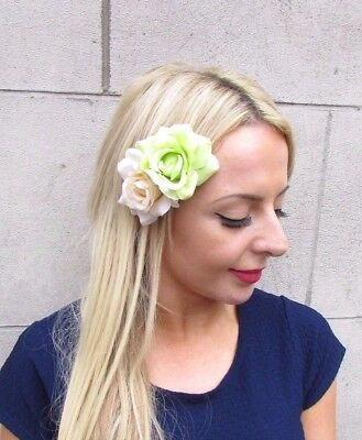 Double Light Green Cream Rose Flower Hair Clip Fascinator Bridesmaid 1950s 4214